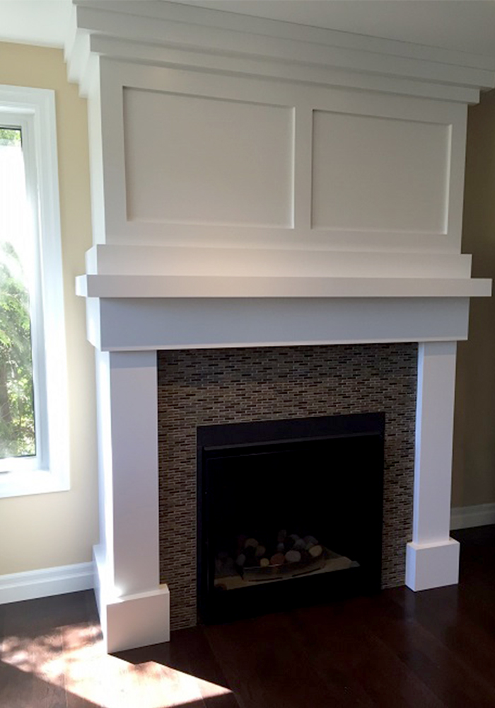 fireplace with white mantlepiece