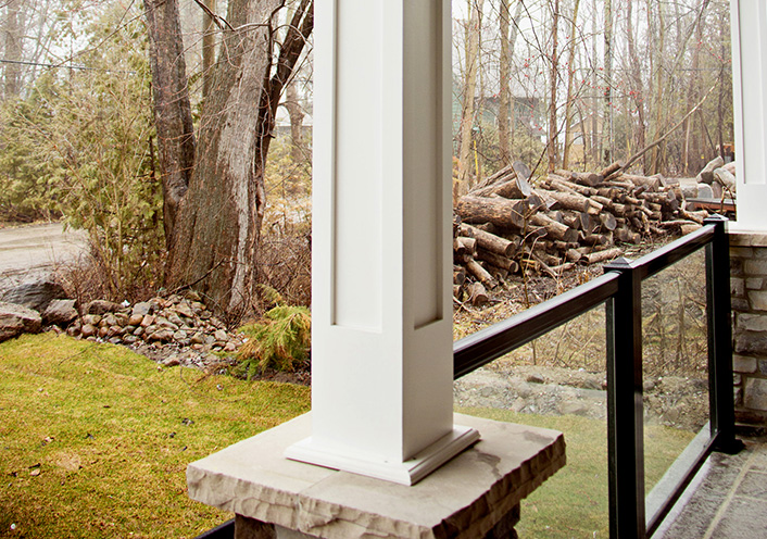 white Column on porch