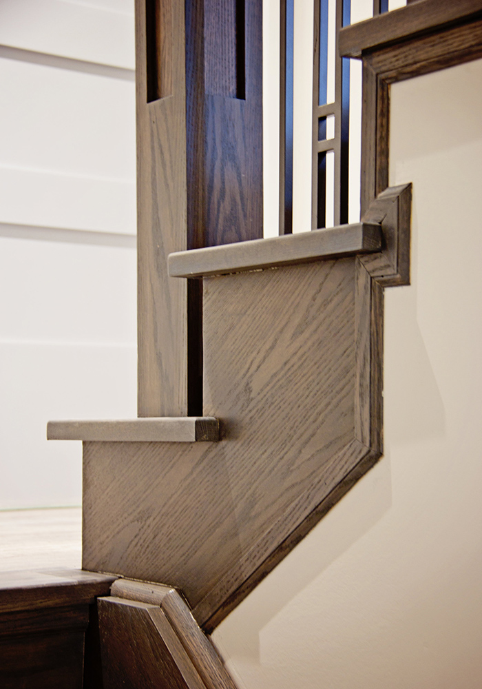 low view of dark wood stairs
