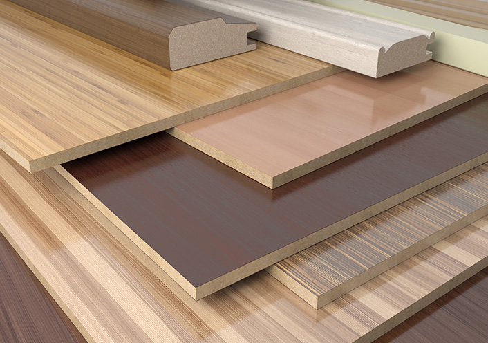 Plywood of different colours and sizes
