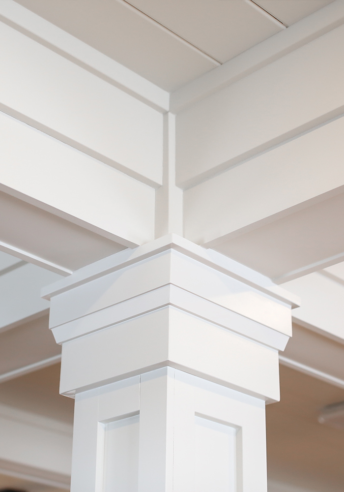 white trim on white column